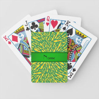 Personalized name green lightning bolts poker cards