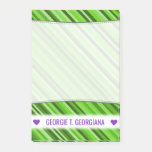 [ Thumbnail: Personalized Name; Green Lines/Stripes Pattern Notes ]