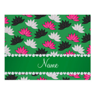 Personalized name green lotus flowers postcard