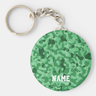 Personalized Name | Green Military Camo Pattern Keychain