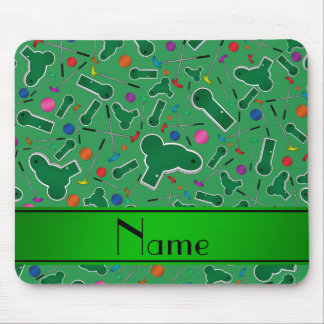 Personalized name green mini golf mouse pads