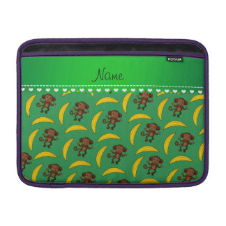 Personalized name green monkey bananas MacBook sleeve