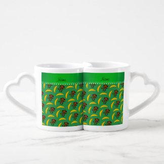 Personalized name green monkey bananas couples' coffee mug set