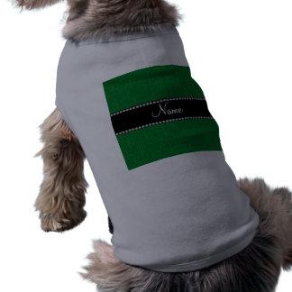 Personalized name green moroccan quatrefoil doggie t shirt