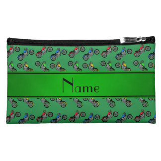 Personalized name green motorcycles cosmetic bags
