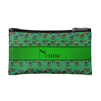 Personalized name green motorcycles cosmetics bags