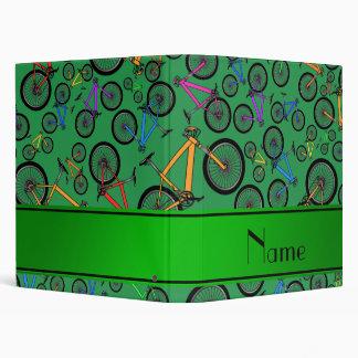 Personalized name green mountain bikes 3 ring binder