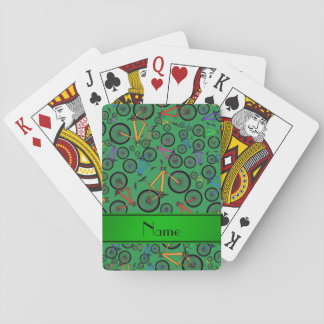 Personalized name green mountain bikes poker cards