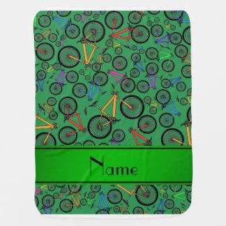 Personalized name green mountain bikes swaddle blanket