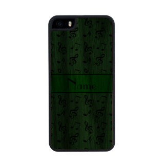 Personalized name green music notes carved® walnut iPhone 5 slim case