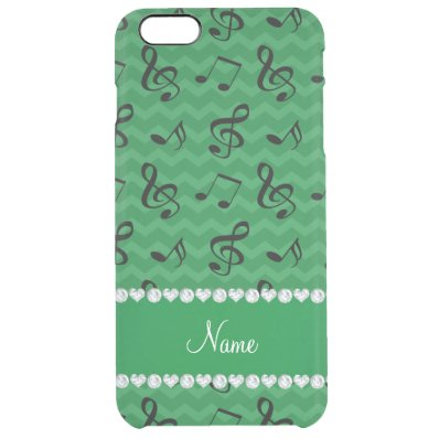Personalized name green music notes chevrons clear iPhone 6 plus case