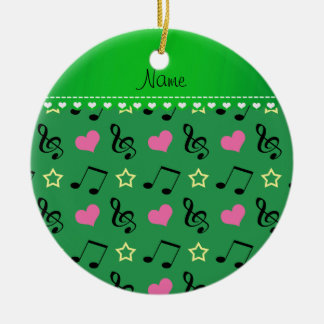 Personalized name green music notes hearts stars ceramic ornament