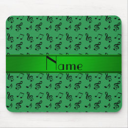 Personalized name green music notes mouse pad