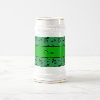 Personalized name green music notes 18 oz beer stein