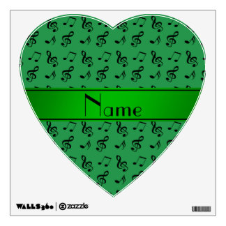 Personalized name green music notes wall graphic