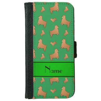 Personalized name green Norwich Terrier dogs iPhone 6 Wallet Case