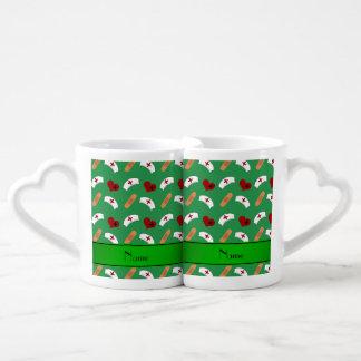 Personalized name green nurse pattern couples' coffee mug set