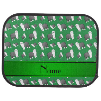 Personalized name green Old English Sheepdog dogs Car Mat
