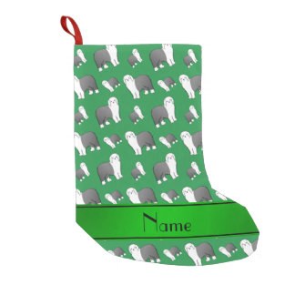 Personalized name green Old English Sheepdog dogs Small Christmas Stocking