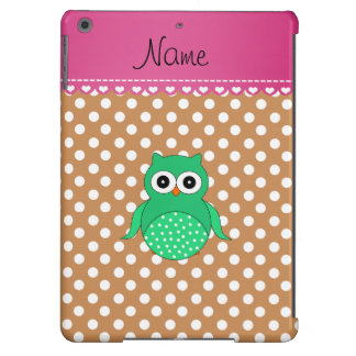 Personalized name green owl brown polka dots iPad air cases