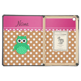 Personalized name green owl brown polka dots case for iPad air