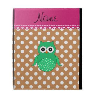 Personalized name green owl brown polka dots iPad folio case