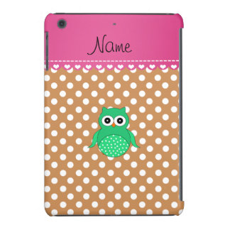 Personalized name green owl brown polka dots iPad mini cover