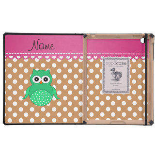 Personalized name green owl brown polka dots cover for iPad