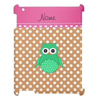 Personalized name green owl brown polka dots iPad case
