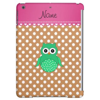 Personalized name green owl brown polka dots iPad air case