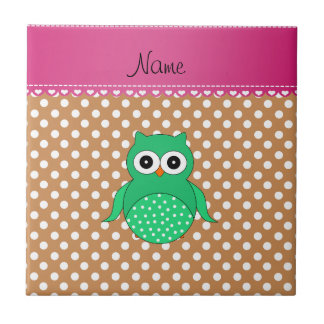 Personalized name green owl brown polka dots ceramic tiles