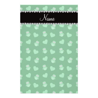 Personalized name green owl hearts custom stationery