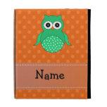Personalized name green owl orange polka dots iPad cases