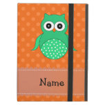 Personalized name green owl orange polka dots iPad case