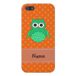 Personalized name green owl orange polka dots cover for iPhone 5