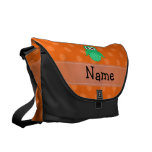 Personalized name green owl orange polka dots messenger bags