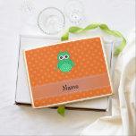 Personalized name green owl orange polka dots jumbo cookie