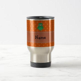 Personalized name green owl orange polka dots coffee mug