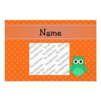 Personalized name green owl orange polka dots photograph