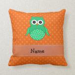 Personalized name green owl orange polka dots throw pillows