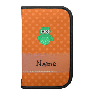 Personalized name green owl orange polka dots planner