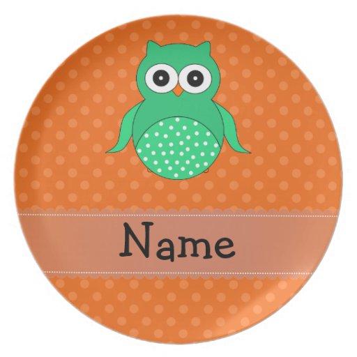 Personalized name green owl orange polka dots party plates