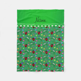 Personalized name green owls flowers ladybugs fleece blanket