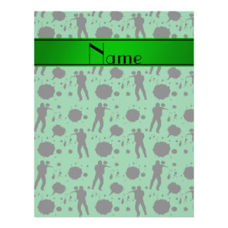 """Personalized name green paintball pattern 8.5"""" x 11"""" flyer"""