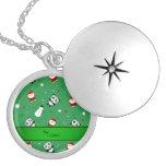 Personalized name green panda santas christmas round locket necklace