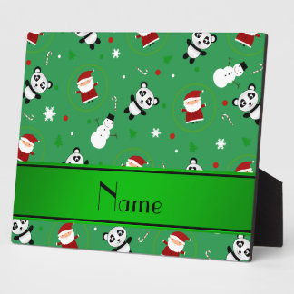 Personalized name green panda santas christmas display plaques