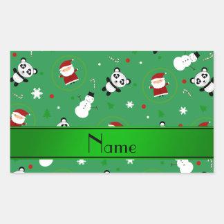 Personalized name green panda santas christmas rectangular sticker