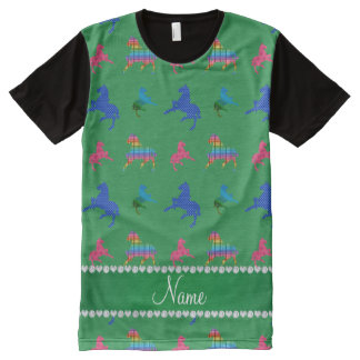 Personalized name green patterned horses All-Over print t-shirt