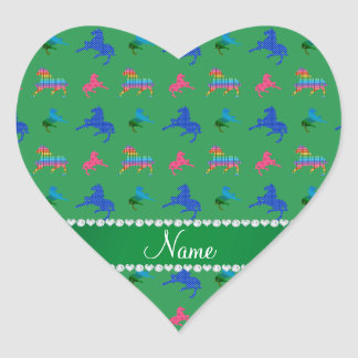 Personalized name green patterned horses heart sticker