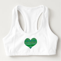 Personalized name green patterned horses sports bra